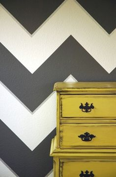 also love! would be cool to make the wall yellow and the dresser chevron..