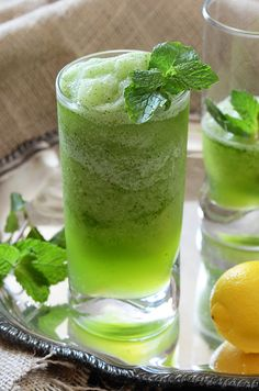 An Edible Mosaic » Limonana (Middle Eastern Frozen Mint Lemonade)