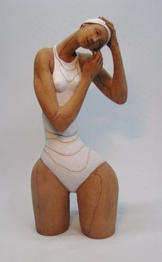 Ceramic figurative sculpture Bather fitting by FiredArtGallery, $950.00