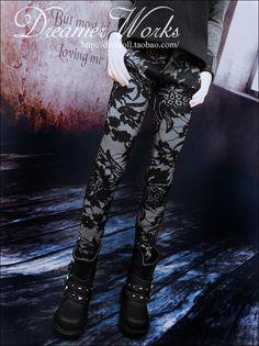 [DWS] BJD / SD doll clothes ★ silver bottom black floral pattern - Slim stretch pants 1 / 3,1 / 4, Uncle - Taobao