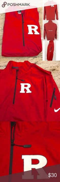 NIKE STORM FIT WINDBREAKER Rutgers University Nike Storm Fit quarter zip light jacket/windbreaker, size Large Men's.  Brand new, no tags, never worn. Lettering has no cracking.  R logo front. Front kangaroo pockets.  Rutgers logo in the back Nike swish logo on left arm. Zipped pocket on left arm.  Scarlet Knights print by the bottom hem.  From smoke and pet free home. Nike Jackets & Coats Windbreakers
