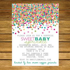 Sprinkle, Second-Baby Shower Invitation -- Pink, Blue, Green, Teal, Purple, Red on Etsy, $18.00