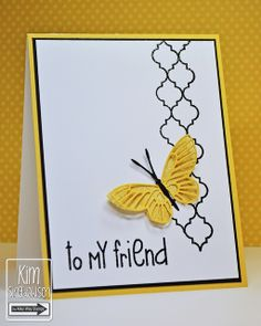 handmade card ... clean and simple ...  white with yellow and black accents ... luv the Memory Box yellow butterfly with solid base of glitterpaper and top the lacy die cut ...