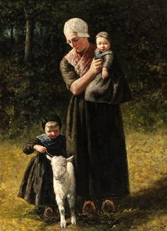 Mother With Children And Lamb