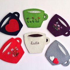 Coasters WhatsApp 0545 839 41 10 # Coarse # Coasters # Cup # Coffee Mug . Diy Crafts Coasters, Felt Coasters, Felt Crafts Diy, Felt Diy, Handmade Felt, Sewing Crafts, Felt Bookmark, Felt Books, Felt Christmas Ornaments