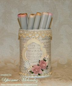 My Shabby Chic altered tin can... Copics Holder