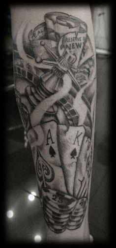 Custom Photo Realism Portraiture Black and Grey Wash Black and White Full Calf Maori Gamble Casino Money Roses Tattoo Tattoo Design_tattoo gallery 12