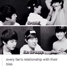 Every kpop fan's relationship with their bias summarized in two pictures lol