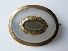 Antique-Victorian-Agate/Pinchbeck Mourning Brooch-circa 1860's
