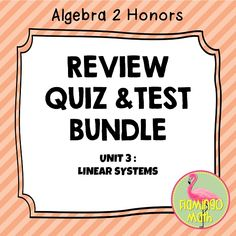 In this bundled set you will find all you need to prepare your Algebra 2 students for better understanding of LINEAR SYSTEMS & INEQUALITIES  The file includes:  1.) Daily Quizzes, (two forms each day) 2.) Mid-Unit Quiz (two forms) 3.) Four Square Activity (solve systems 4 ways) 4) End Unit Test Review - Tournament 5.) Unit Review Worksheet with Linear Programming 6.) Linear Systems Practice Test 7.) Unit Test-Forms A & B 8.) All answer keys