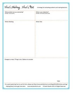 Printable decision-making form - What's working? What's not?