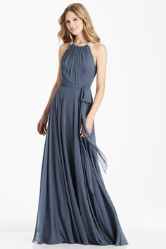 Full length lux chiffon dress w  beaded trim detail at shirred halter  neckline. Matching sash at natural waist. Available in 100 different Lux  Chiffon ... 72de19617665