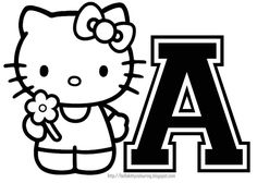 HELLO KITTY COLORING: PERSONALIZED COLORING PAGE INITIAL LETTER HELLO KITTY