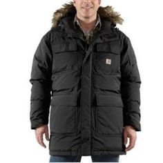 Carhartt Down Kalkaska Snorkel Parka high fashion high performance jacket. Made specifically for comfort and warmth the ultimate in winter jackets from this niche workwear brand.