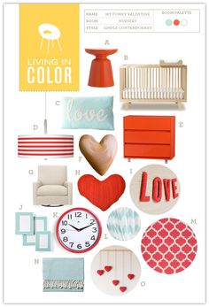 """Funny Valentine"" Teal & Red nursery - LOVE it (get it?)"
