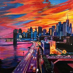Angela Wakefield Brooklyn Bridge New York City NYC Skyline Painting by English Landscape Artist
