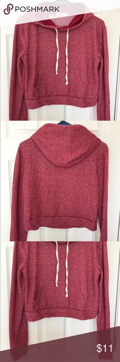 Forever 21 Red Cropped Hoodie Forever 21 red cropped hooded sweatshirt with white drawstring. Fits size S/M Forever 21 Sweaters
