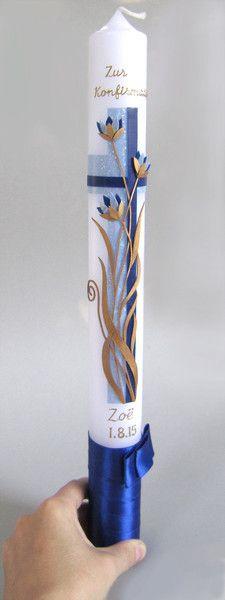 Konfirmationskerze f. Mädchen, blau & gold von Taufkind auf DaWanda.com