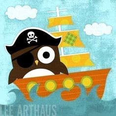 Pirate Owl...wouldn't Hazen die!  Only if it's a boy, though...although I suppose you could use different colours and make it a girl pirate, lol