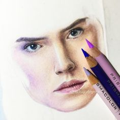 Colored pencil drawing of Rey in progress