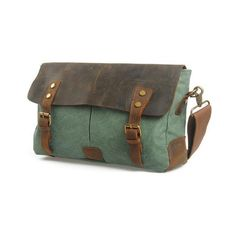 Lixmee leather canvas unisex messenger bag ($48) ❤ liked on Polyvore featuring bags, messenger bags, genuine leather bag, leather courier bag, green bags, green leather bag and real leather bags