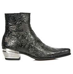 New Rock Shoes Men's Vintage Flower Dallas Formal Leather Boots