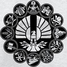 Panem Districts Hunger Games Wall Clock - 12 districts for the 12 hours. The Hunger Games, Hunger Games Movies, Hunger Games Fandom, Hunger Games Catching Fire, Hunger Games Trilogy, Divergent Trilogy, Districts Of Panem, Hunger Games Districts, Katniss And Peeta