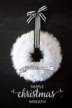 Simple White Christmas Wreath | DIY Christmas Wreaths | Holiday Creative DIY Wreath Ideas, see more at: http://diyready.com/diy-christmas-wreaths-front-door-wreath-ideas-you-will-love/