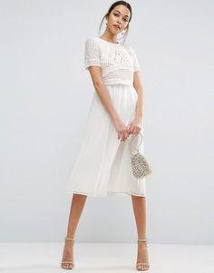 c03f41524167 ASOS Heavy Applique Crop Top Midi Dress  Promotion Cream Midi Dress