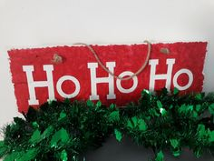 Ho Ho Ho - Hand painted rustic wall sign, in red and white. Available from my Etsy Store - The Painted Shack Store Upcycled Furniture, Painted Furniture, Wall Signs, Etsy Store, Red And White, Shabby Chic, Hand Painted, Colours, Rustic