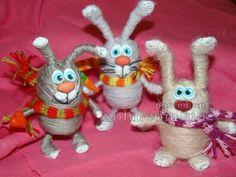 игрушки из ниток на каркасе