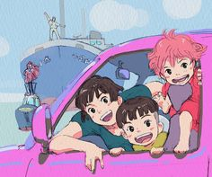 Ponyo ^-^ one big happy family Studio Ghibli Films, Art Studio Ghibli, Pom Poko, Howls Moving Castle, My Neighbor Totoro, Animation, Human Art, Hayao Miyazaki, I Love Anime