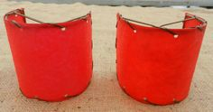 Matched Pair Vintage Red Fiberglass Wall Sconce Lamp Shades 4 x 4 | eBay