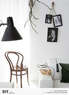 Diy rope hanging frames tutorial by Annaleena via Emmas Designblogg