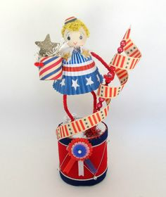 SALE Vintage Style Patriotic Girl Red White and by teresatudor, $21.00