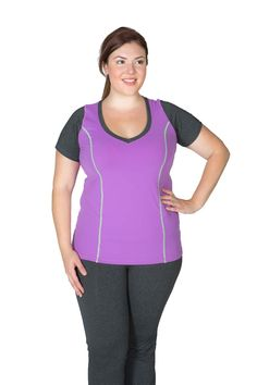 This top replaces your white shapeless tee! Versatile style can be worn anywhere, any time! Contour stitching and color blocking creates a slimming silhouette with perfect arm coverage. The luxuriously soft Getts Dry Supplex will wick moisture away and th