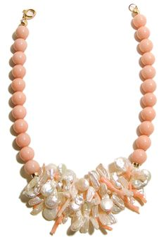 Helga Wagner Pink Coral color mother of pearl beads with Pink Coral and Fresh Water Pearl sticks and Coin Fresh Water Pearls and Tiffany clasp.