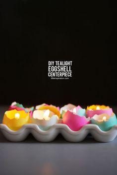 DIY tealight eggshell centerpiece