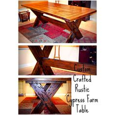 Gorgeous Custom Crafted Pecky Cypress Rustic Farm Table from Reclaimed Cypress Wood! Chunky and Solid !  Https://www.facebook.com/thejunksinthetrunk  Custom built, diy farm table