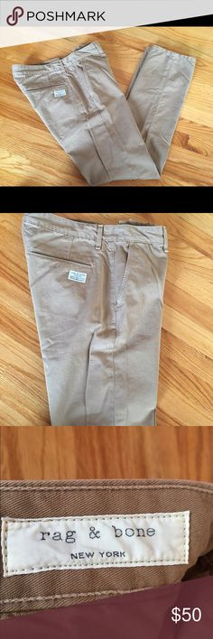 Rag & Bone Men's Flat Front Chinos (khaki color) Rag & Bone Men's Flat Front Chinos (khaki color). 💯 % Cotton. Size 34. Slim Fit. Previously worn. But well kept. No trades. No bundles. Smoke and pet free home 🏡 rag & bone Pants Chinos & Khakis