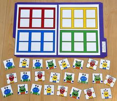These Matching and Sorting File Folder Games are monster themed these monsters… Fall Preschool, Preschool Printables, Preschool Crafts, Preschool Activities, Colour Activities, File Folder Activities, File Folder Games, File Folders, Halloween Themes