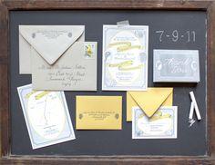 Oh So Beautiful Paper: Charles + Jazmin's Silhouette Letterpress Wedding Invitations