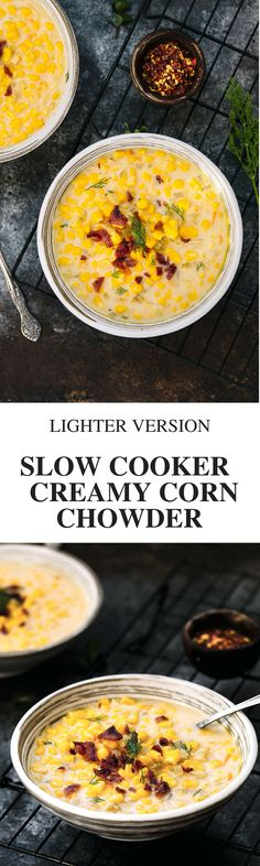 "Browsing slow cooker recipes?  Try this creamy corn chowder. This is a lighter version of those ""classic comfort food"" corn chowder recipes via @thedealmatch"
