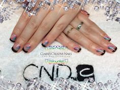 CND Shellac alternative French Manicure using Blackpool and Grapefruit Sparkle, hand painted nail art and Sizzling Sand Additive. By: Claire's Creative Nails, Northampton. Call or text: 07752 397245 to book your appointment. #cndshellac #shellac #frenchmanicure #nailart #additives #northamptonsalon