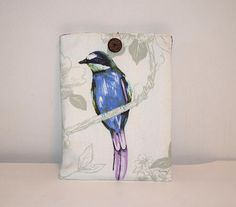 iPad Cover, iPad Case, Tablet Cover, Tablet Case, iPad Case Bird, Fabric Tablet Sleeve, iPad Sleeve, Fabric iPad Cover, Blue Tablet Case,