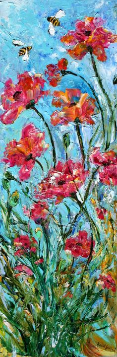 Original painting FLOWER POPPY BEE palette knife by Karensfineart