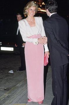 Princess Diana Attending A Performance Of The Ballet 'swan Lake' At The Coliseum In London She Is Wearing A Dress Designed By Catherine Walker