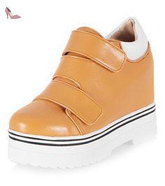 VogueZone009 Femme Rond à Talon Haut Matière Mélangee Couleur Unie Velcro Chaussures Légeres, Jaune, 37 - Chaussures voguezone009 (*Partner-Link)