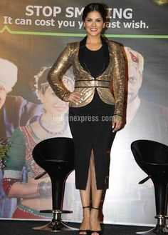 Sunny Leone is all bling in a golden blazer and black skirt at the launch the short film 'Don't pick up Cigarette'. #Bollywood #Fashion #Style #Beauty #Hot #Sexy #Punjabi
