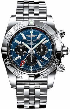 Breitling Windrider Chronomat GMT Auto Men Blue Dial Black Subdials Steel Watch AB041012/C835 Free Overnight Shipping